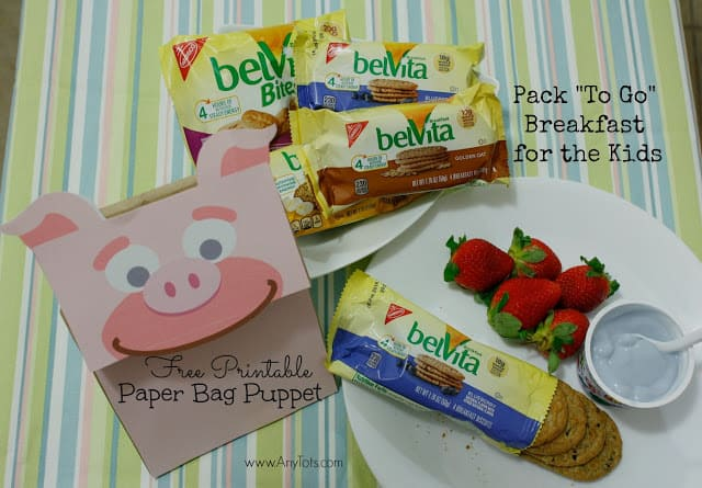 Free Printable Paper Bag Puppet: Pack To Go Breakfast for the Kids