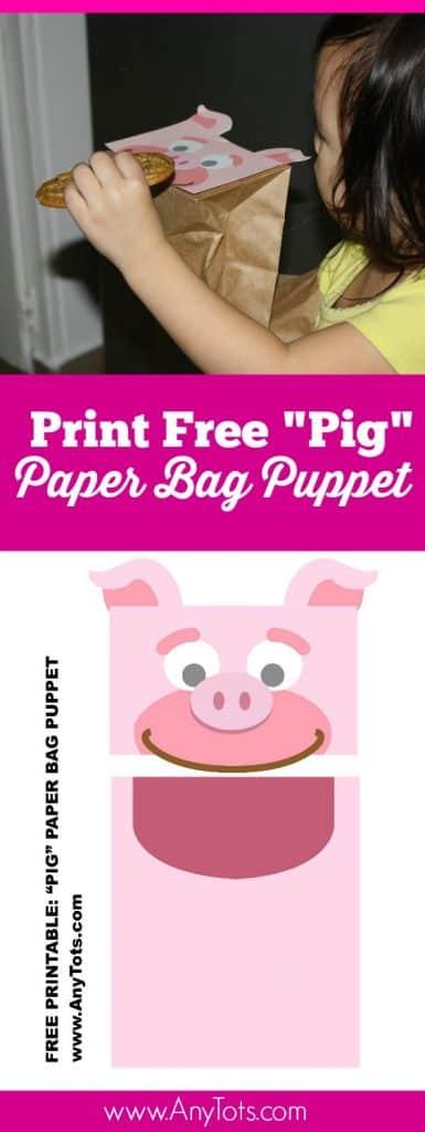 Paper Bag Puppet Free Printable Pig