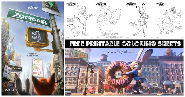 Free Printable Zootopia Coloring Sheets and Matching Game
