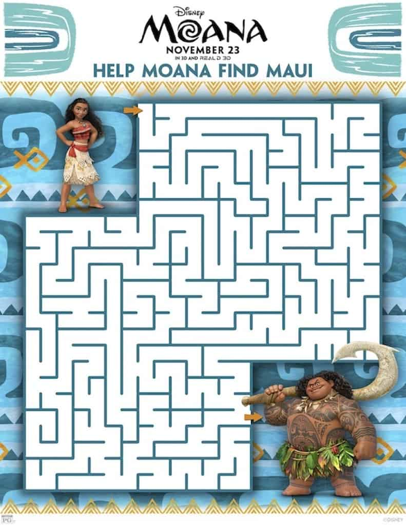Moana Maze Activity Sheet