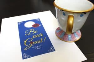 Free Beauty and the Beast Party Printable: Door Hanger