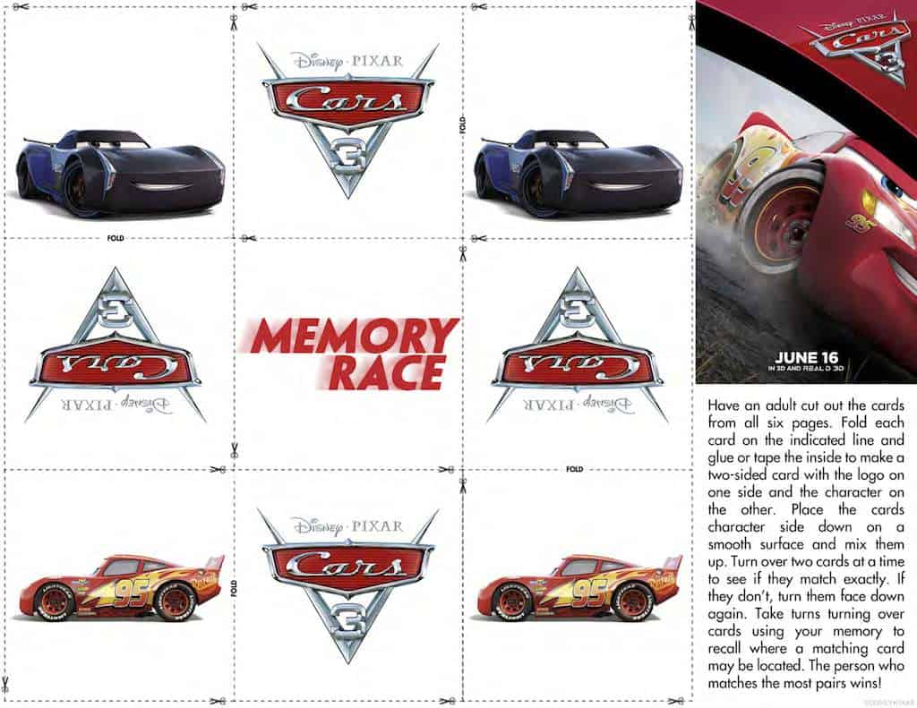 image relating to Printable Cars named Disney Autos Free of charge Printable Recreation Sheets - Any Tots