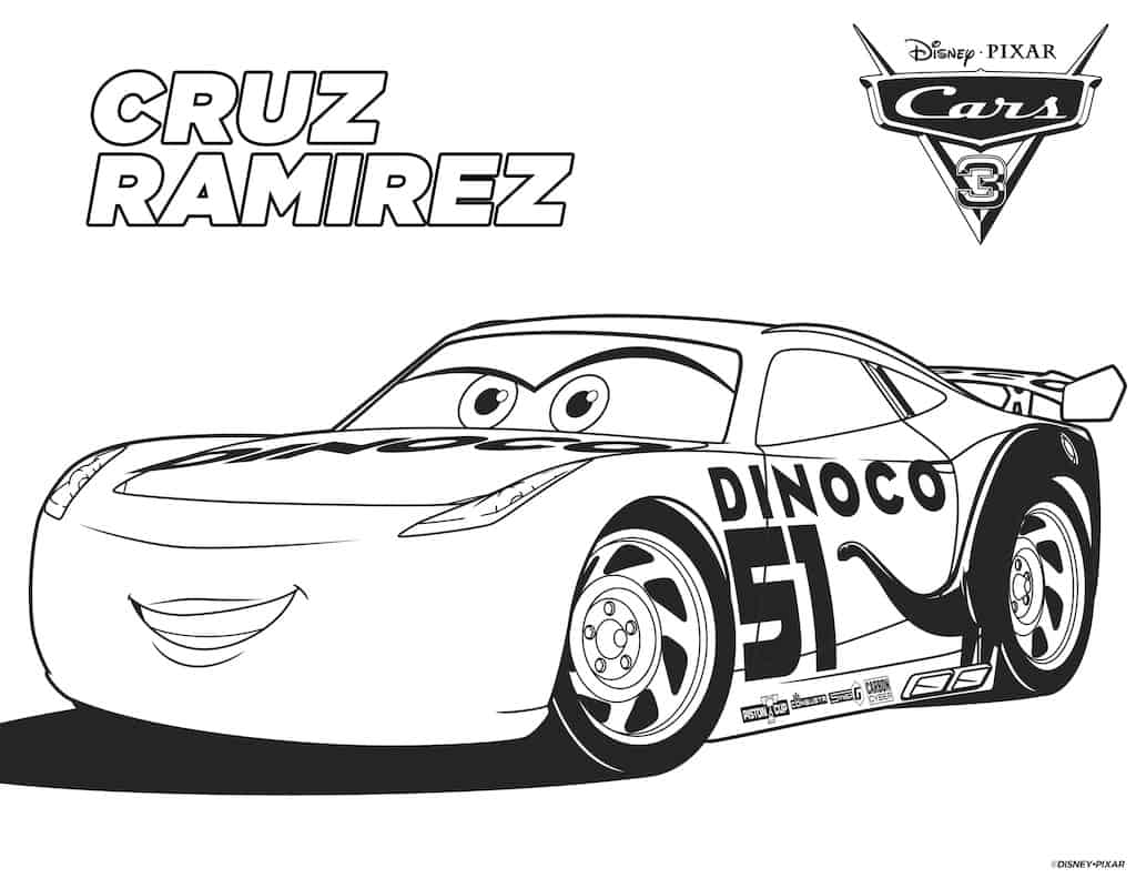 Cars 3 Free Coloring Pages - Any Tots