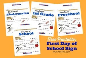 First Day of School Sign Free Printable Poster