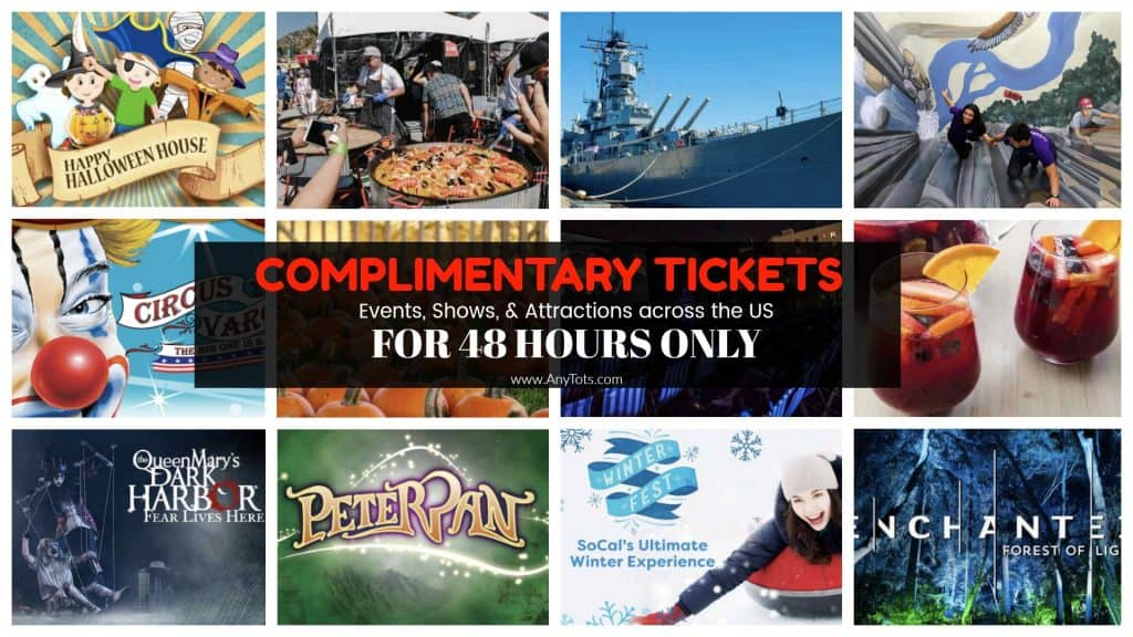 Complimentary Tickets to Attractions: 48 hrs. only Starting Today