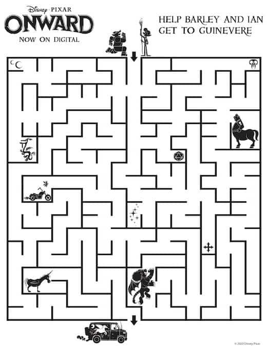 Disney Onward Maze Activity Sheet