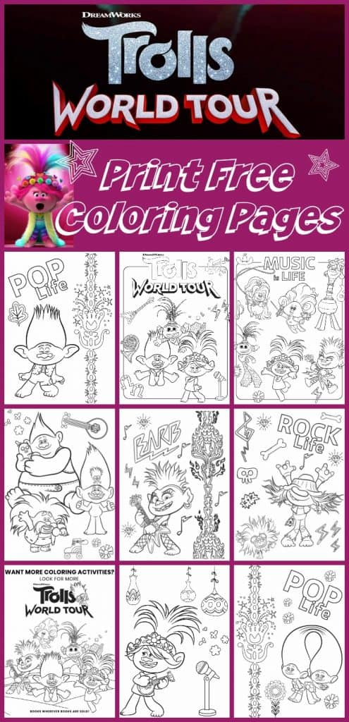 free printable trolls world tour coloring pages  u0026 party